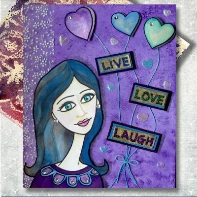 mixed media purple blue art