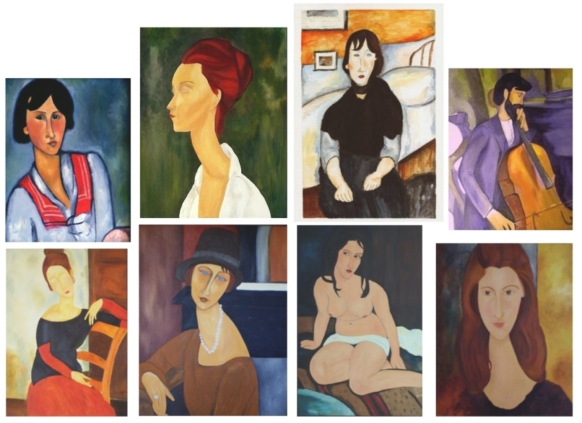 My modigliani paintings - digital, watercolour and ink and oils.