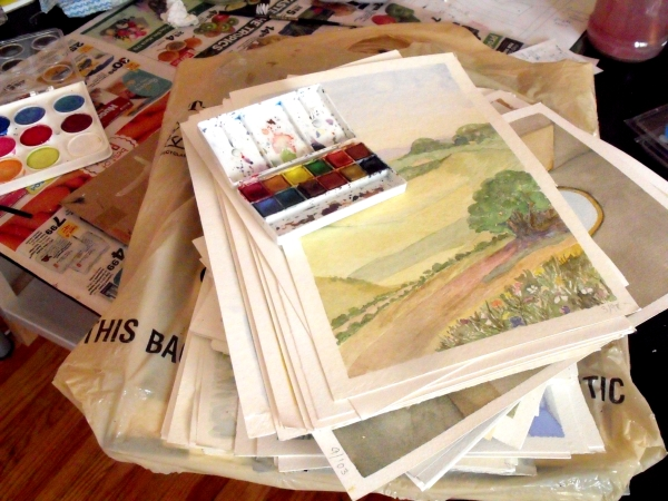 Just ONE stack of my late Mother In Law's watercolours!