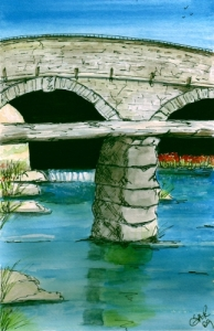 Watercolour and Ink - Devon Bridge 2009