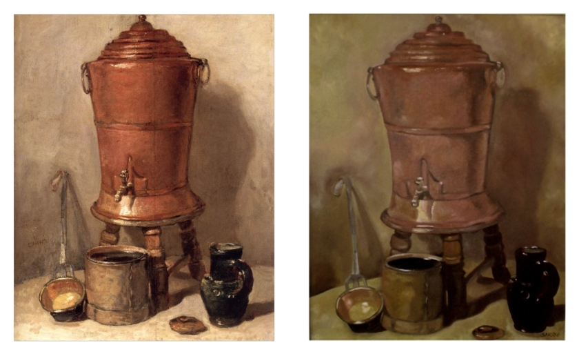 Cooper Drinking Fountain - Chardin's original on the left - my study on the right.